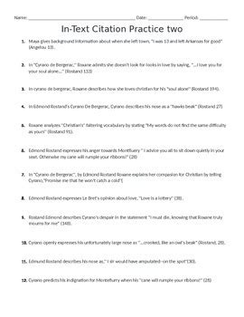 Mla Citation Practice Worksheet by Mla In Text Citation Worksheet By Miss Drum S Classroom Tpt