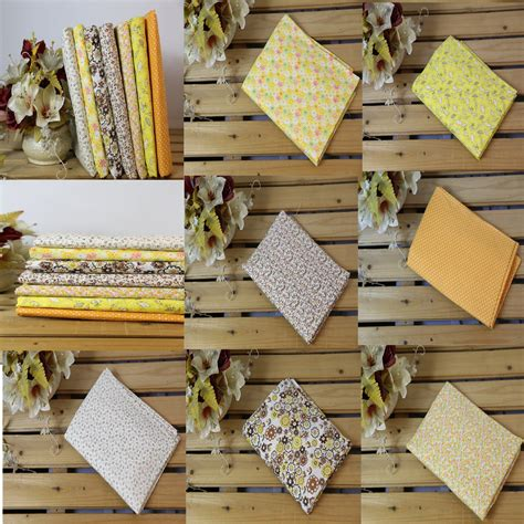 New One Tablecloth Intl 7pcs 25x25cm squares yellow cotton fabric patchwork diy