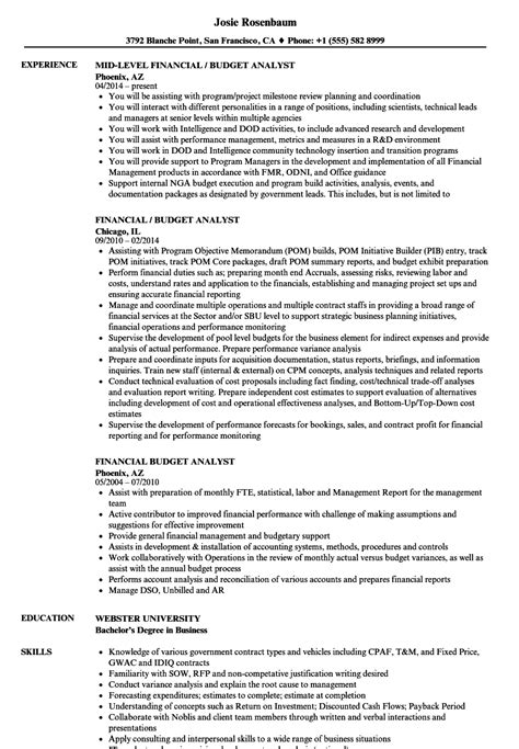 Budget Analyst Resume by Financial Budget Analyst Resume Sles Velvet