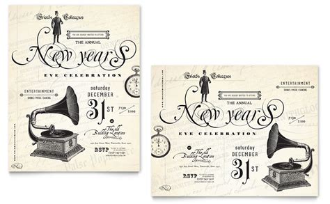 vintage templates for word vintage new year s party poster template word publisher