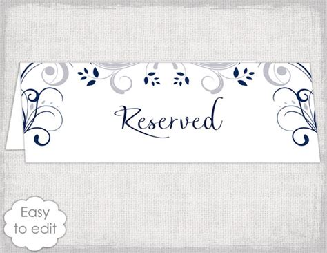 Wedding Reserved Sign Card Template Quot Scroll Quot Printable Reserve Table Sign Tent Card Silver Gray Table Sign Template