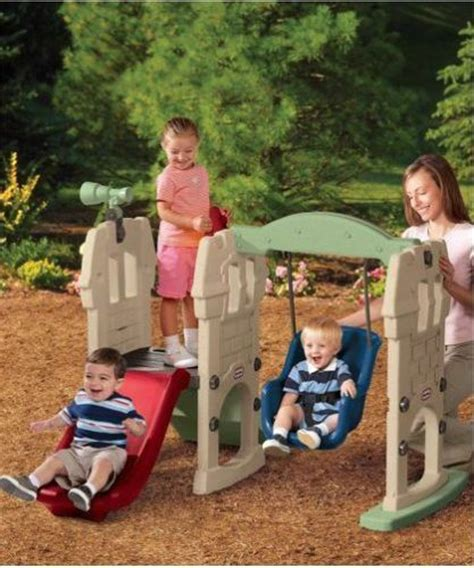 little tikes toddler swing and slide little tikes swing slide castle play set for toddlers