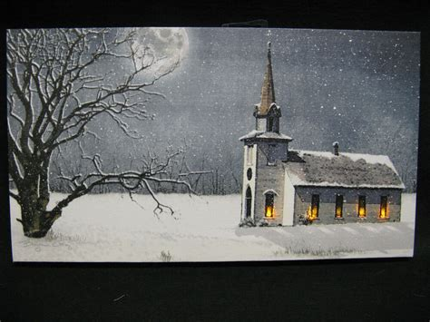 lighted church canvas church lighted canvas wall decor sign reglious moon snow winter ebay