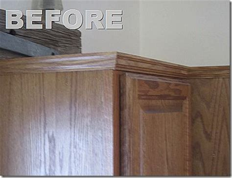 kitchen cabinet side panel install molding and side panel to update kitchen cabinets for