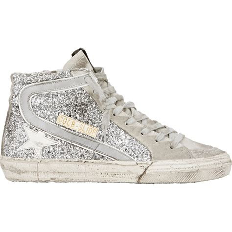 silver sneakers lyst golden goose deluxe brand slide glitter high top