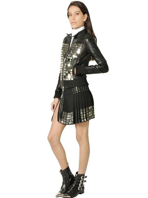 Diesel Leather Kotak Black Silver lyst diesel black gold leather moto jacket with metal