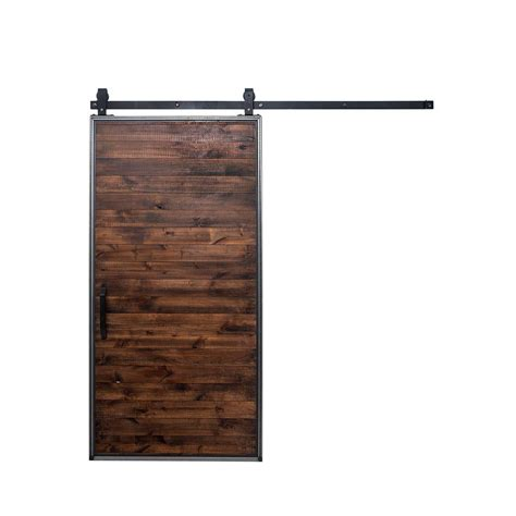 Rustica Hardware 42 In X 84 In Mountain Modern Stain Barn Door Home Depot