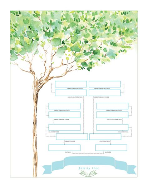 tree charts family tree chart watercolor design