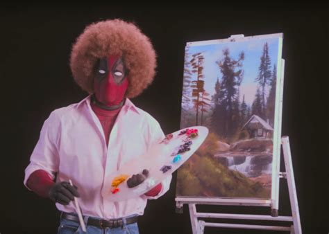 bob ross painting deadpool deadpool dressed as bob ross paints happy trees in the