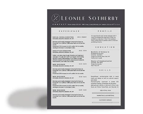 matching cover letter and resume templates leonile sotherby modern resume template stand out shop