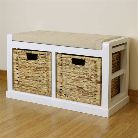 Bench Seat With Storage White Hallway Bathroom Shoe Storage Bench Seat Foam Wicker Cushion 2 Baskets Ebay