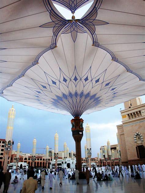 Umbrella Madinah Original Import Saudi shade provided for pilgrims photo sefar architecture fabric architecture