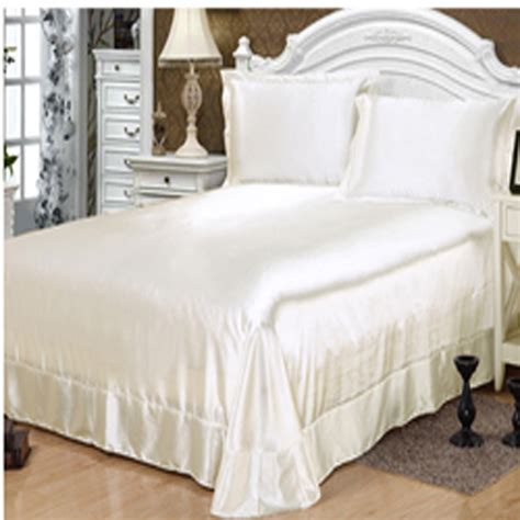 White Bed Set 100 Satin Silk Bedding Sets Bed Linen White Satin Bedspread Pillowcase Bed Sheet Set Juegos