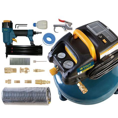 tnt  gal air compressor    brad nailer   pc accessory kit