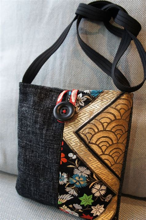Handmade Material Bags - made bag made from japanese obi kimono fabric