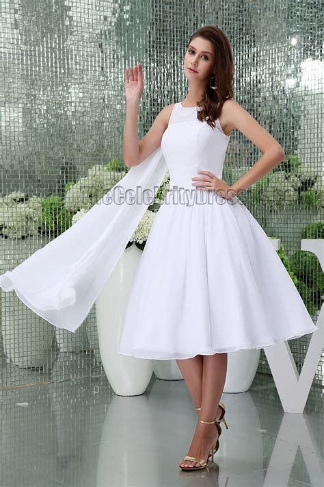 White Knee Length A Line Cocktail Short Wedding Dresses