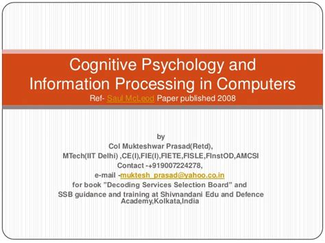 cognitive psychology dr barbara h cognitive psychology and information processing in computers