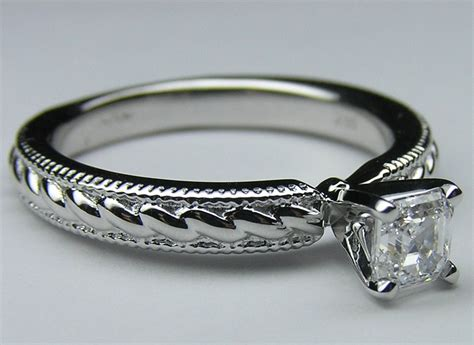 engagement ring asscher solitaire rope engagement