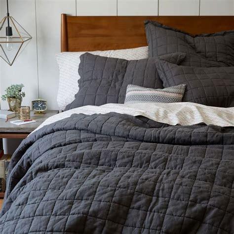 belgian linen bedding belgian flax linen quilt shams slate west elm