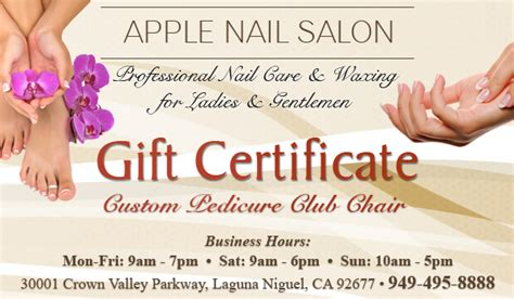 manicure gift card template custom pedicure club chair gift certificate apple nail