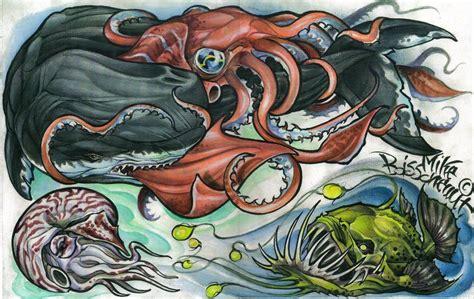 new school rhino tattoo whale squid tattoo flash by mikeboissoneault on deviantart