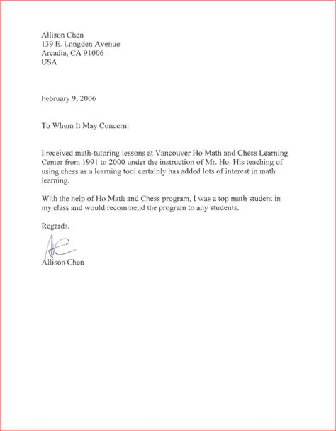 Recommendation Letter For A Math Student Sle Recommendation Letter For Student High School Letter Of Recommendation Sle Jpg