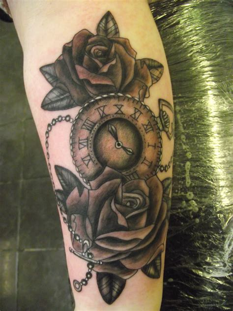 custom rose and pocket watch tattoo by paul butler