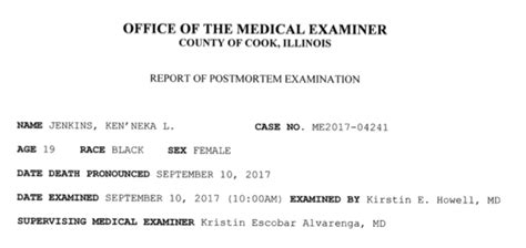 Autospy Results Are In Is Wired The Entertainment by Autopsy And Toxicology Report On Kenneka Jenkins