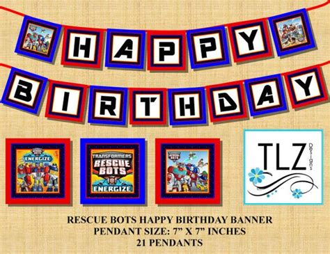 printable transformers birthday banner instant download transformers rescue bots birthday by