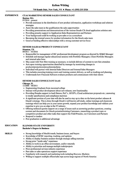 Recruitment Consultant Sle Resume by Sales Consultant Senior Sales Consultant Resume Sles Velvet