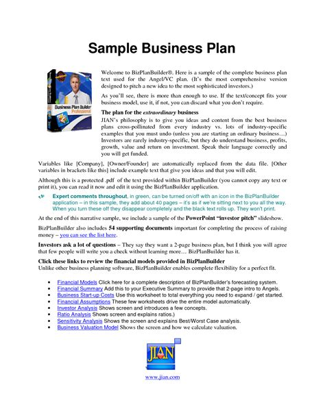 business plan template pdf free business template