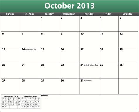 october calendar template related keywords suggestions for large printable
