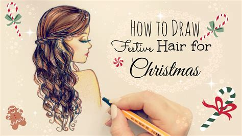 drawing tutorial how to draw and color festive hair for