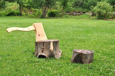 tree stump chair hongtao zhou two stumps an axe lounge chair