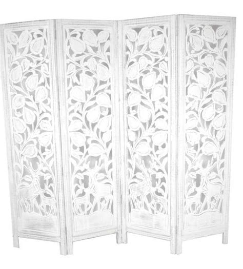 hand carved indian stag design room divider screen white