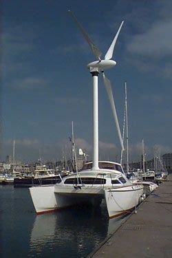 boat wind turbine windmill sailboat sailing against the wind treehugger