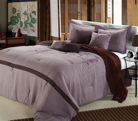 8pc lavender plum tree branch embroidered comforter set