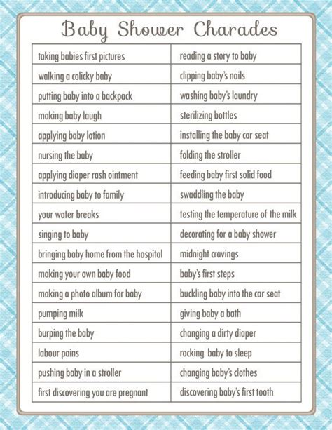 9 best images of printable baby shower charades baby charades baby shower game in a vintage style with blue