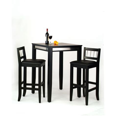 Black Bar Table Manhattan Black Pub Table And Two Stools Home Styles Furniture Pub Sets Pub Tables Sets