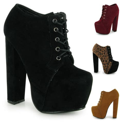 new faux suede platform block heel womens ankle