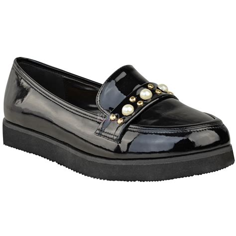 chunky loafers womens womens flat creeper chunky sole school work dolly