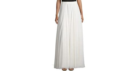 heritage flowy pleated maxi skirt in white bone