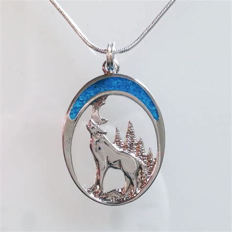 howling wolf twilight moon turquoise necklace lobo lupo
