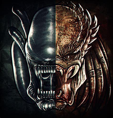 vs predator drawings how to draw vs predator step by step aliens sci
