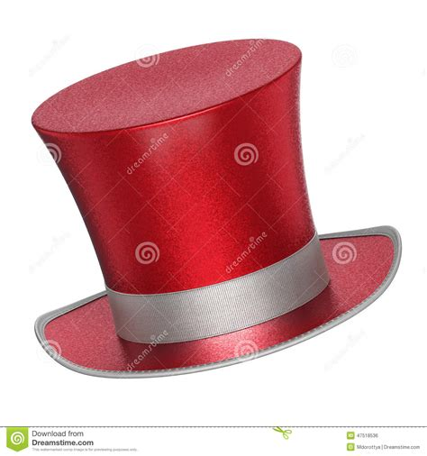 decke rot 3d rendered decoration top hat with silver ribbon