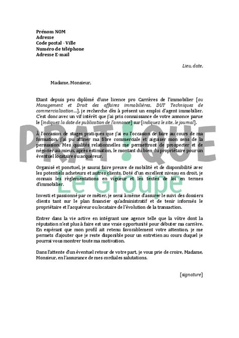 Exemple De Lettre De Motivation Immobilier Lettre De Motivation Pour Un Emploi D Immobilier