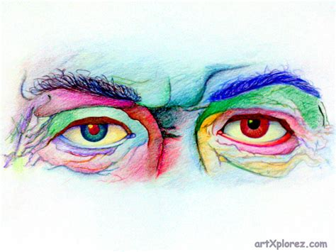 colored drawings wrinkled eye pencil color sketch artxplorez