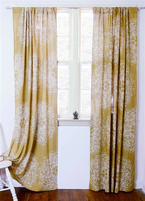yellow drapes yellow window curtains window treatment block print natural