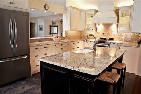 Farm Table Kitchen Island galaxy white granite kitchen traditional with black island