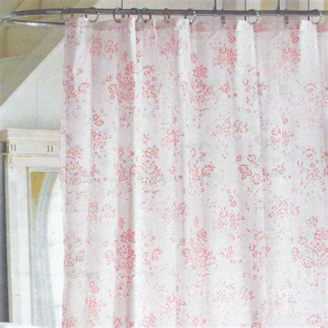 rose shower curtains simply shabby chic pink floral toile cottage cabbage rose